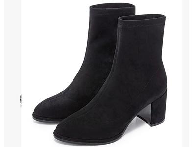 哈森秋冬靴子女2020新款短靴弹力瘦瘦靴高跟