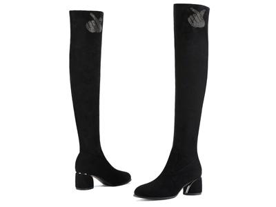 莫蕾蔻蕾高跟长靴女过膝2020新款弹力尖头黑色靴