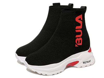 莫蕾蔻蕾袜子靴女2020新款秋冬运动短筒靴厚底弹力靴