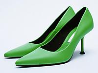 ZARA秋季新款TRF-女鞋-绿色气质高跟鞋