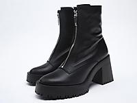 ZARA秋季新品黑色拉链饰牛皮革高跟短靴