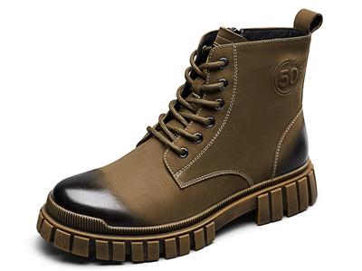 意尔康男鞋2021冬季新款加绒皮靴英伦风马丁靴