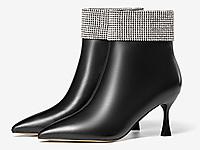 奥康女鞋-2021冬季新款小众感真皮高跟鞋