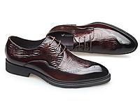 富贵鸟新款男鞋商务透气真皮雕花亮皮布洛克鞋