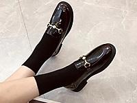 巨日女鞋2021秋款漆皮低跟软底舒适百搭乐福鞋