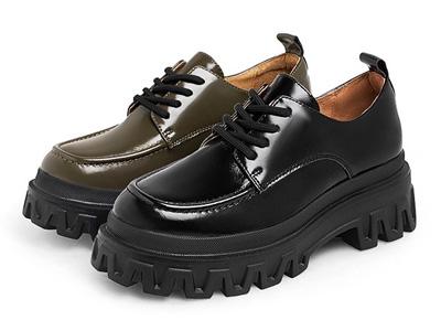 Teenmix天美意2021秋新款厚底复古简约风女皮单鞋