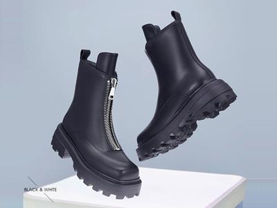 红蜻蜓马丁靴女真皮新款短靴英伦风厚底鬼帝靴