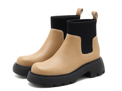 思加图2021冬季新款复古厚底增高时装靴