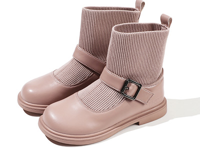 百丽童鞋儿童袜靴秋冬季新款短靴女童马丁靴