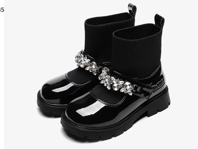 百丽童鞋女童短靴子2021新款秋冬加绒玛丽珍鞋