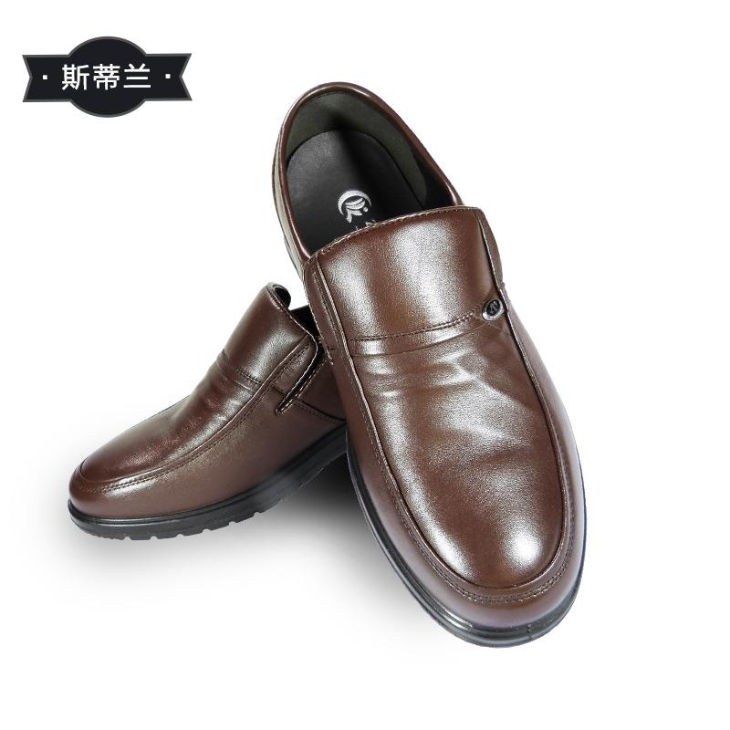 斯帝兰头层牛皮懒人套脚舒适软底透气男鞋